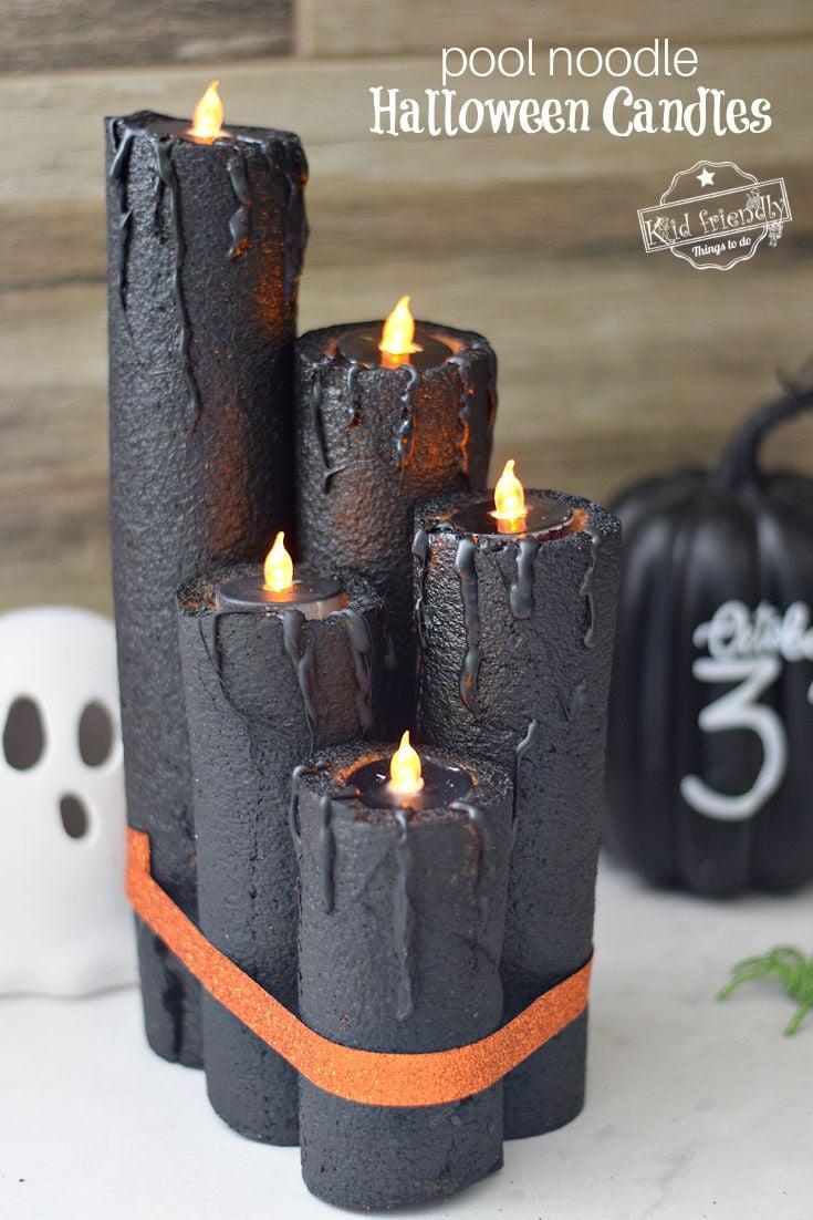 pool noodle Halloween candle craft