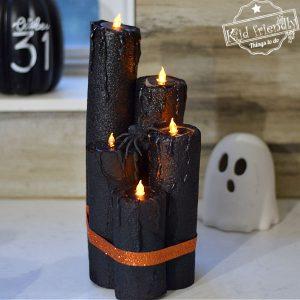 pool noodle Halloween candles